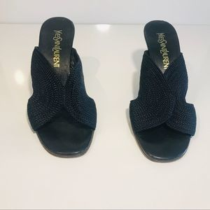YVES SAINT LAURENT Vintage Black Sandals 7.5